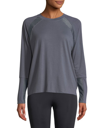 Mesh-Panel Long-Sleeve Pullover Sweatshirt