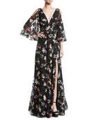 Jovani Floral Gown w/ Cold Shoulder & Embellished