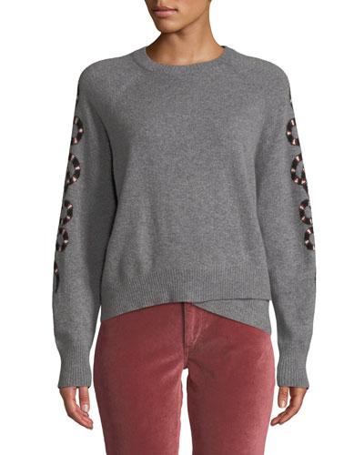 Serpent-Intarsia Sleeve Crewneck Cashmere Sweater