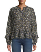 MiH Ingrid Floral Button-Front Silk Peplum Top