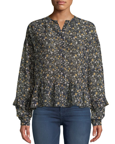 8333130901b4c Quick Look. MiH · Ingrid Floral Button-Front Silk Peplum Top. Available in  Multi Pattern