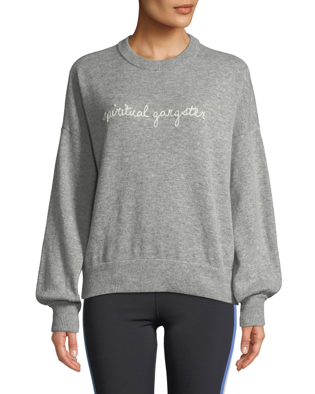 Signature Embroidered Balloon-Sleeve Sweater, Gray