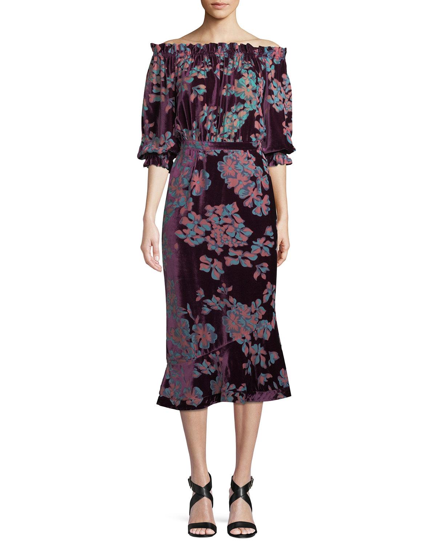 SALONI Grace Midi Floral Stripe-Print Dress in Red Pattern