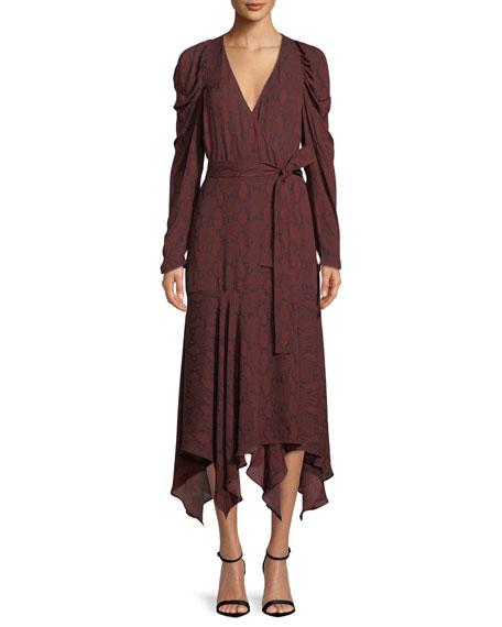 A.L.C. Tianna Snake-Print Long-Sleeve Wrap Dress
