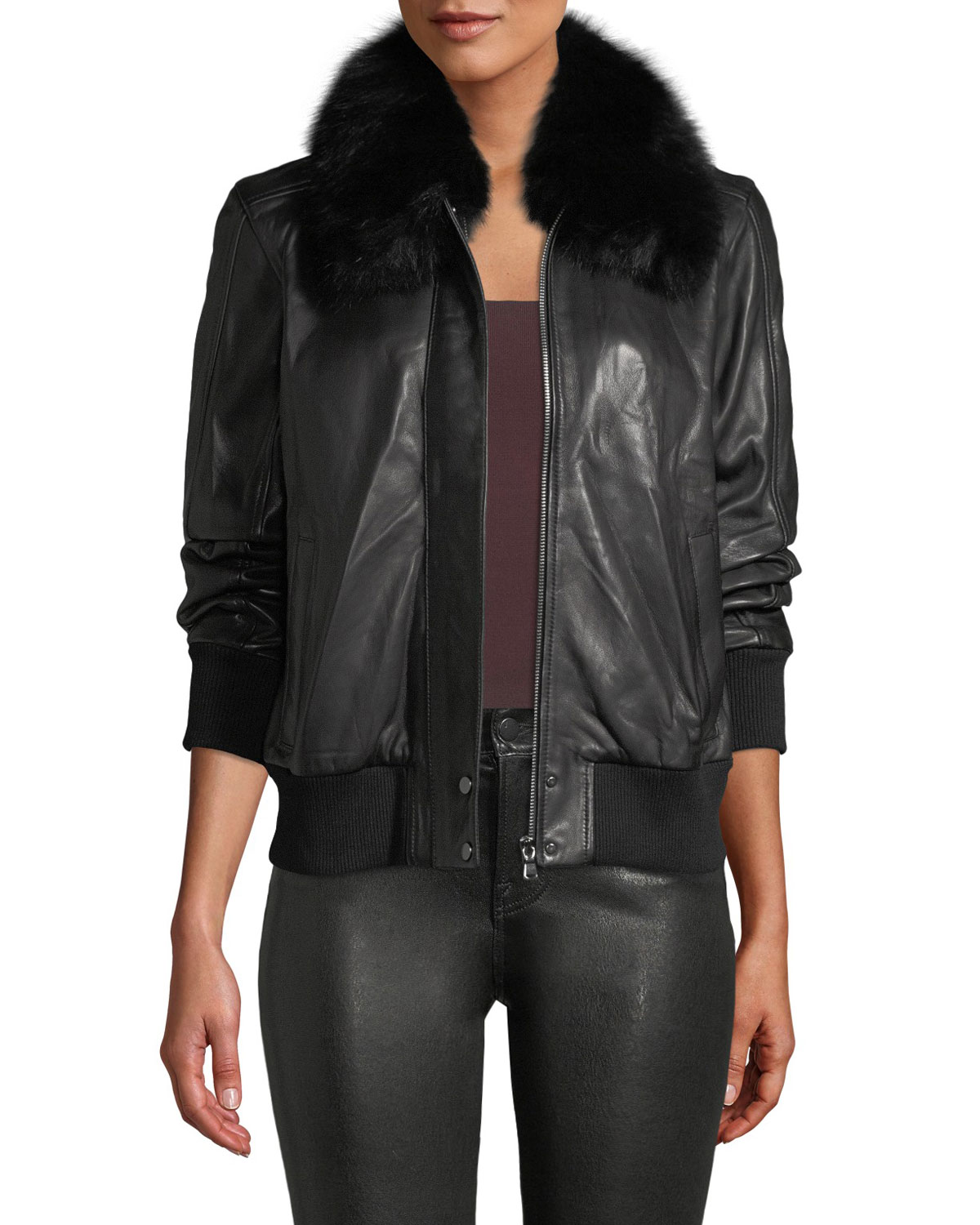 ARAN ZIP-FRONT LEATHER BOMBER JACKET W/ FUR COLLAR