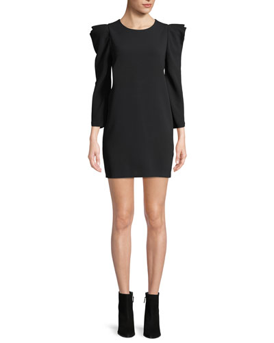 Fiona Long-Sleeve Crepe Shift Dress