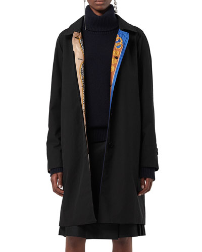 Camden Single-Breasted Car Coat w/ Archive-Print Lining