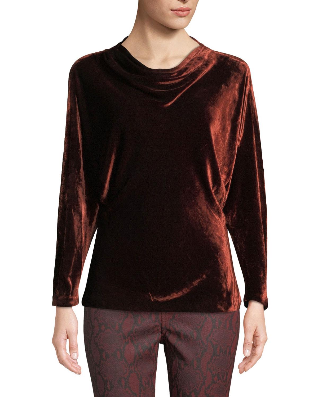 Miller Cowl-Neck Velvet Long-Sleeve Top