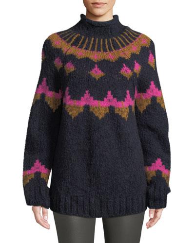 Shapiro Mock-Neck Intarsia Wool-Blend Sweater