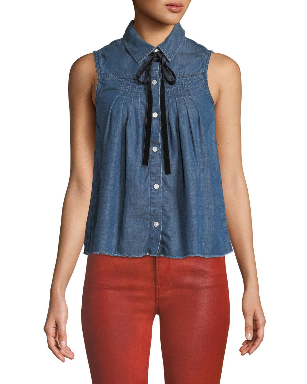 Sleeveless Button-Front Pintuck Tie-Neck Chambray Shirt