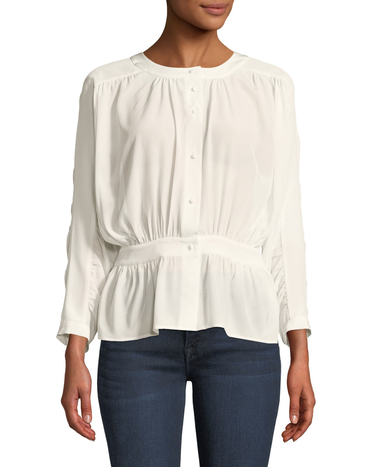 Gathered Silk Button-Front Top