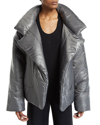 Sleeping Bag Open-Front Puffer Coat