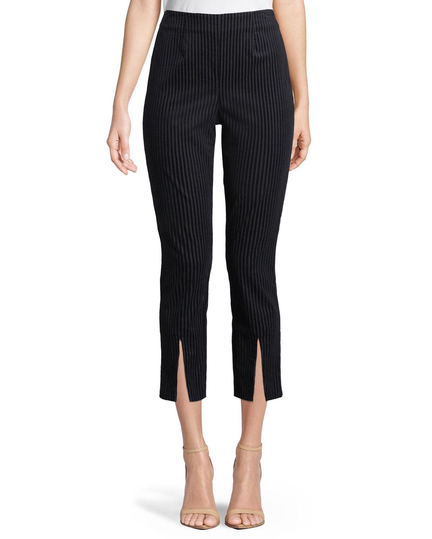 Striped Split-Front Cropped Pants