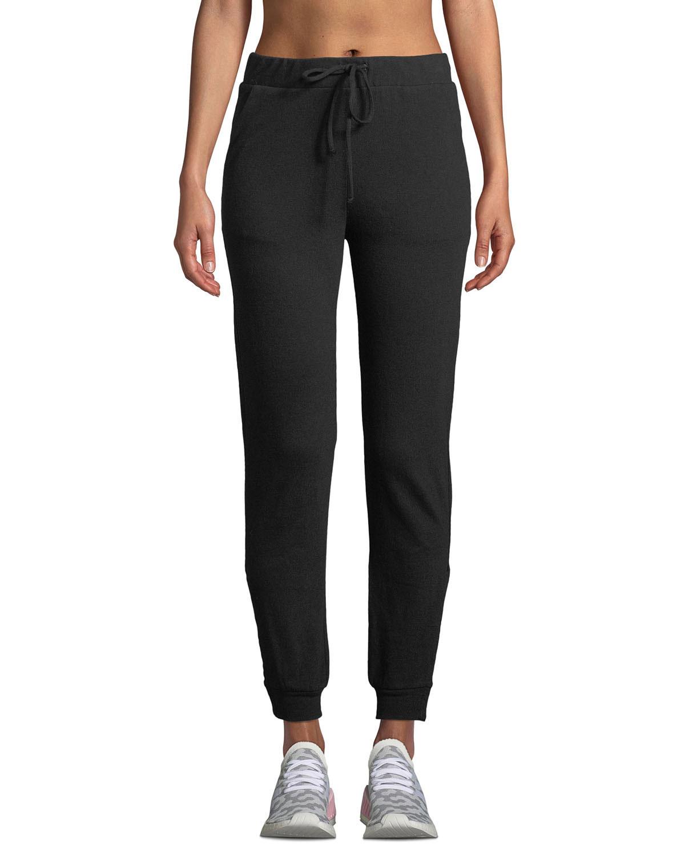 LANSTON Snap-Side Drawstring Jogger Pants in Black