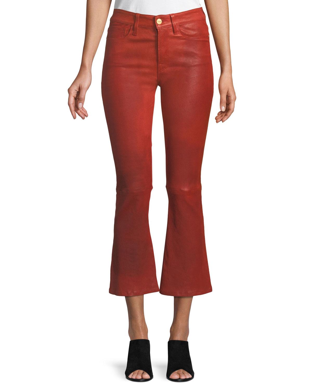 Le Crop Mini Boot-Cut Leather Pants