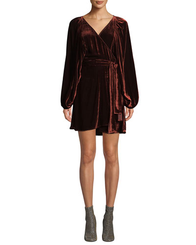 Carlo Velvet Long-Sleeve Wrap Dress