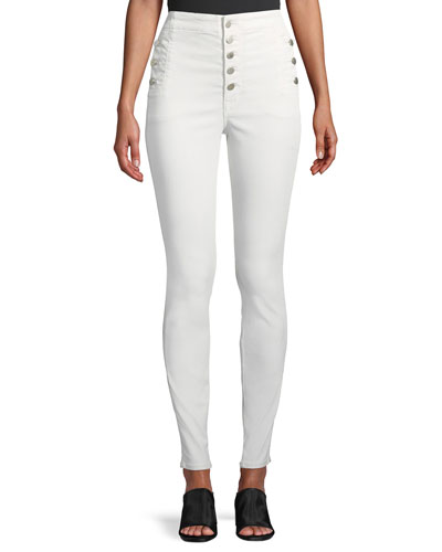 Natasha Sky High Button-Fly Coated Skinny Jeans