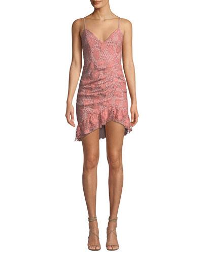Plumeria Floral Lace Dress w/ Shirring