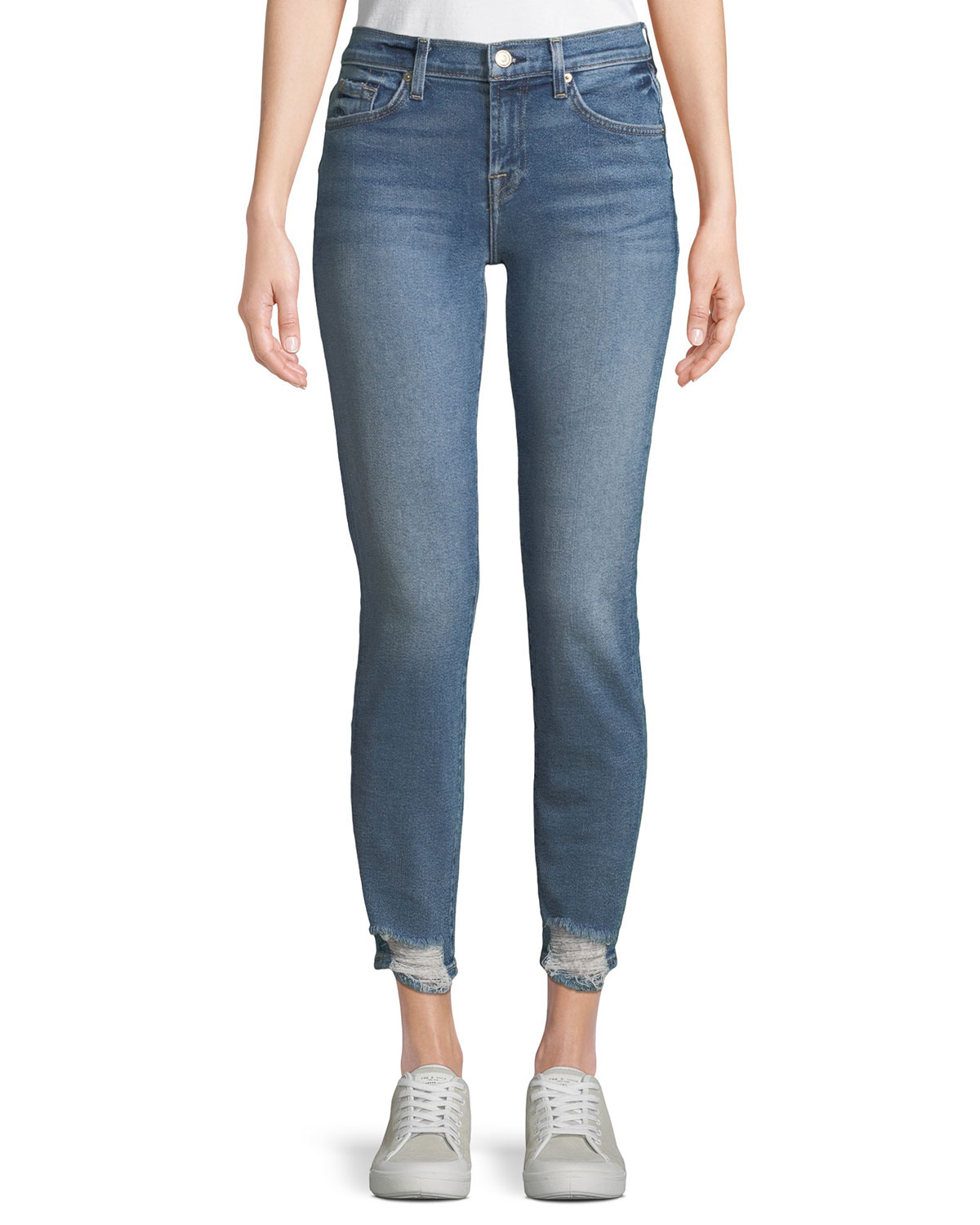 Roxanne Straight-Leg Jeans w/ Destroyed Hem