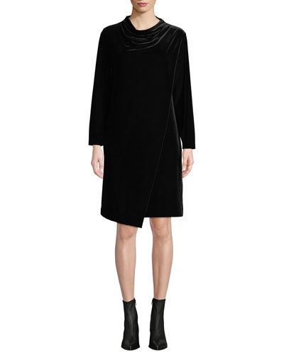 Petite Long-Sleeve Draped-Front Velvet Dress w/ Side Pockets