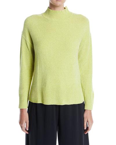 Petite Mock-Neck Chenille Pullover Sweater