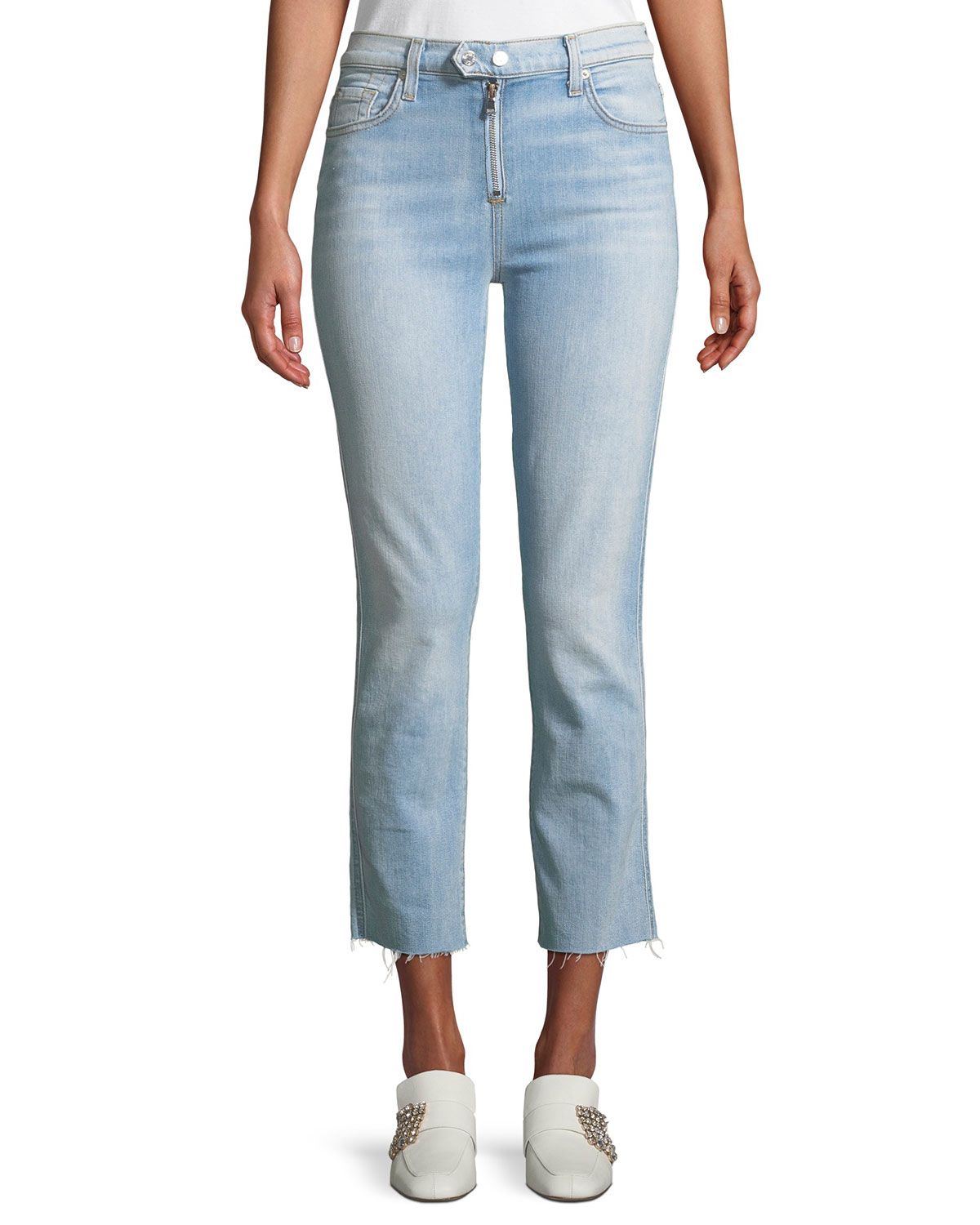 Edie Straight-Leg Raw-Edge Jeans w/ Exposed Zipper