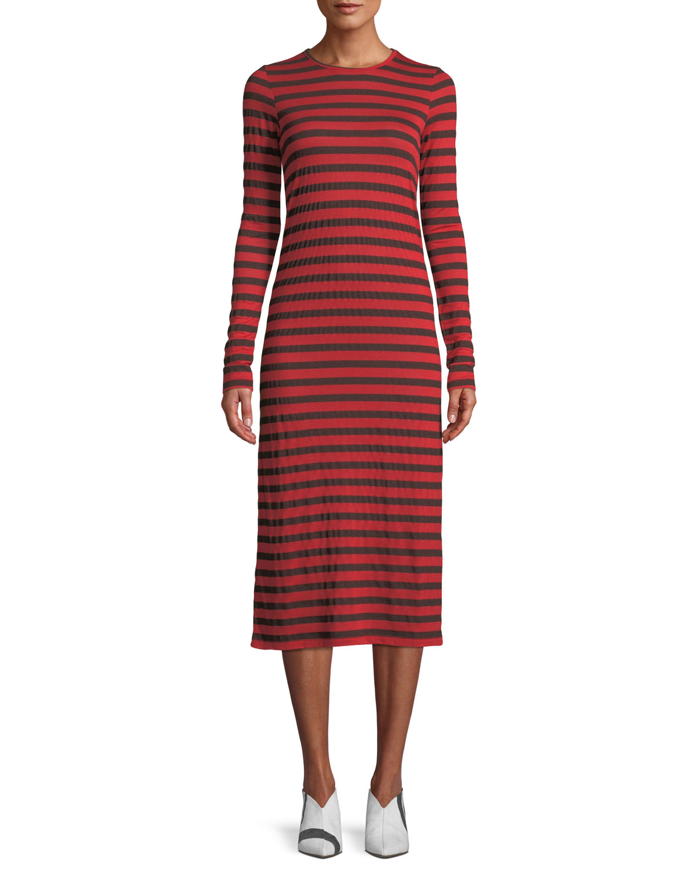 The Breton Striped Long-Sleeve Midi Dress