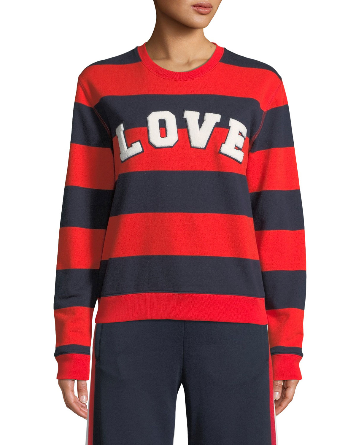 Love Striped Yarn-Dyed Graphic Sweatshirt