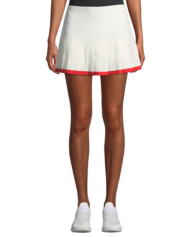 Pleated Tennis Skirt w Contrast Hem