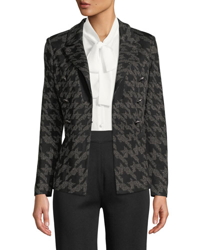 Plus Size Houndstooth Knit Blazer Jacket