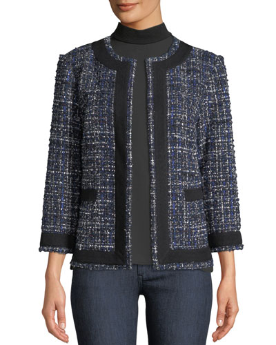 Plus Size Tweed Knit Jacket w/ Border Trim