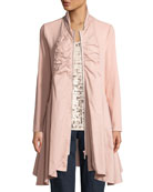 Joan Vass Zip-Front Stretch Interlock/Woven Combo Jacket