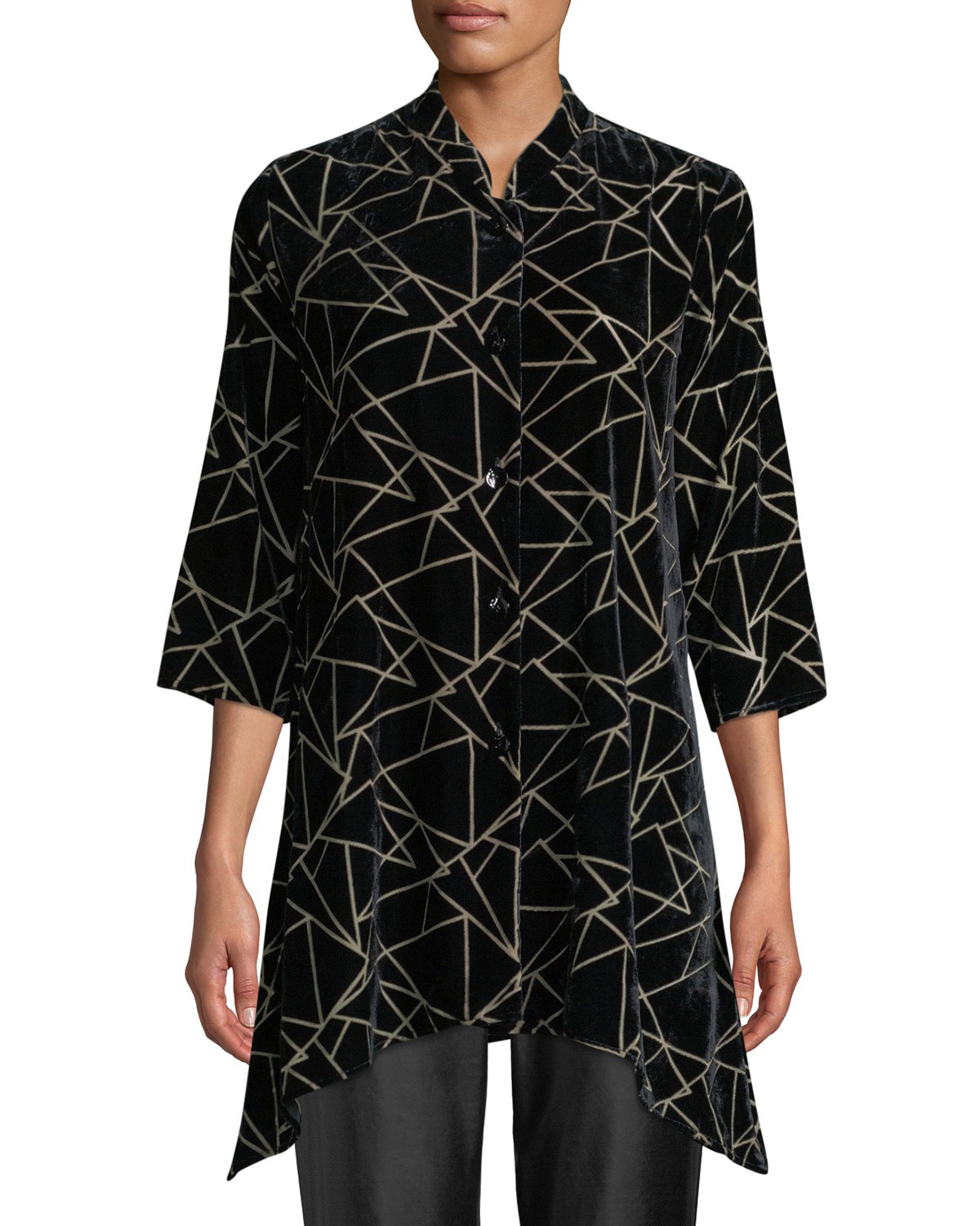 Triangle Devore Velvet Side-Fall Button-Front Tunic, Petite