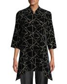 Caroline Rose Triangle Devore Velvet Side-Fall Button-Front Tunic