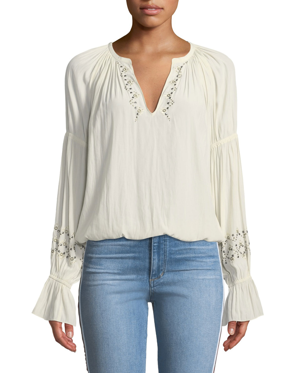 Antonia Embellished Silk Peasant Top