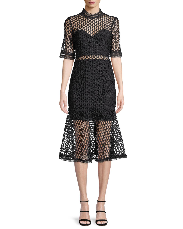 Fiona Mesh Funnel-Neck Midi Dress
