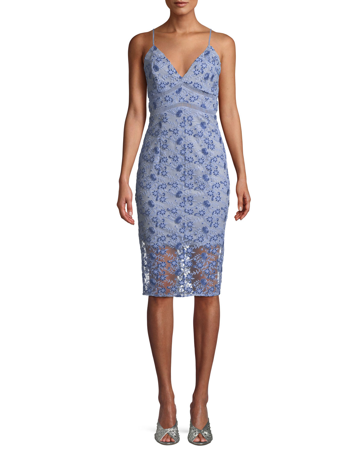 Sapphire Embroidered Sheath Cocktail Dress