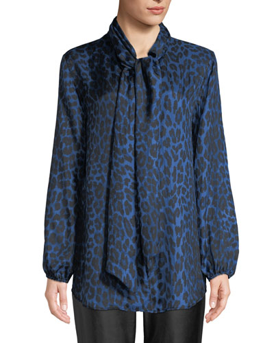 Plus Size Leopard-Print Silk Blouse