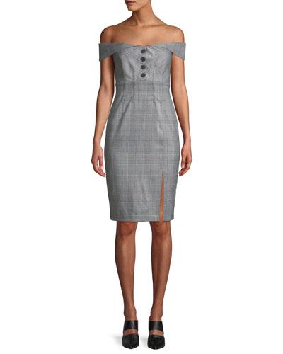 Bella Off-the-Shoulder Check Cocktail Dress