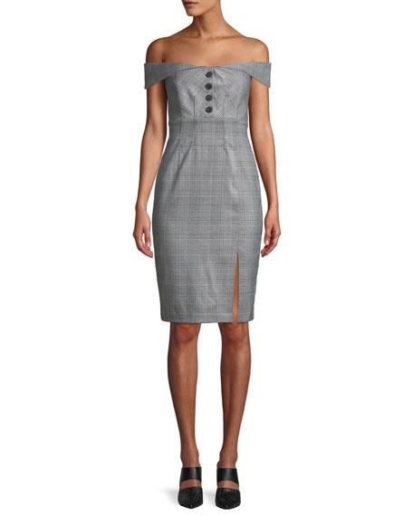 Bardot Bella Off-the-Shoulder Check Cocktail Dress