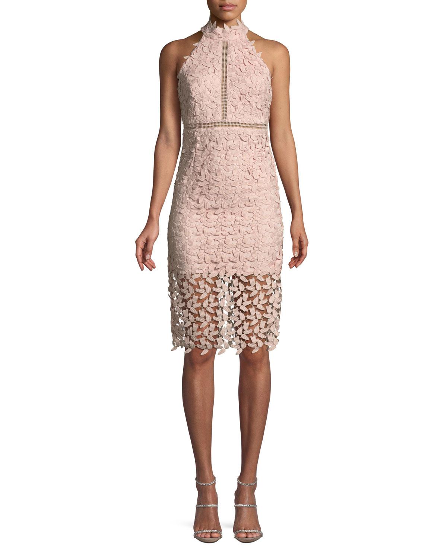 Gemma Lace Halter Cocktail Dress