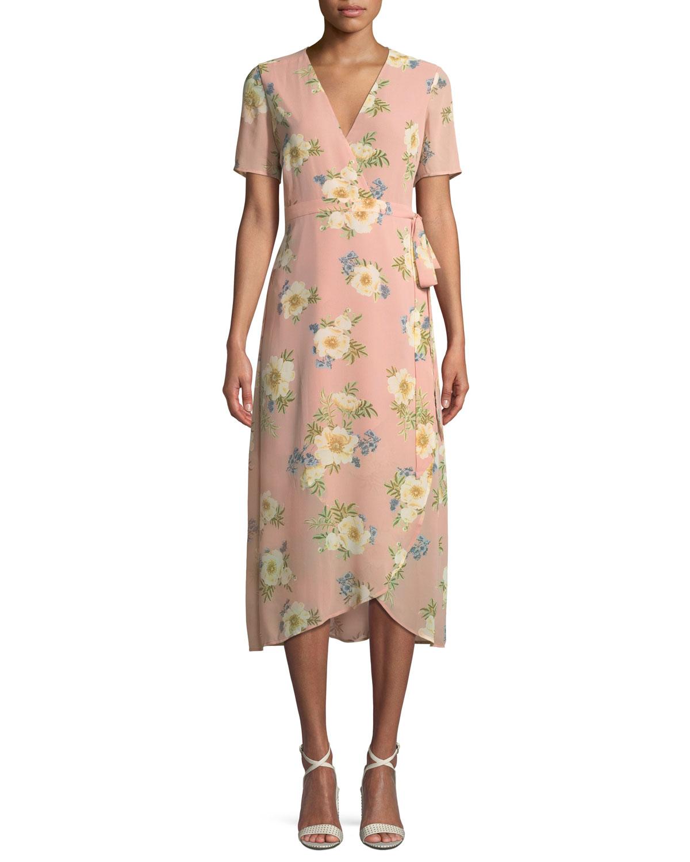 V-Neck Short-Sleeve Floral-Print Midi Wrap Dress
