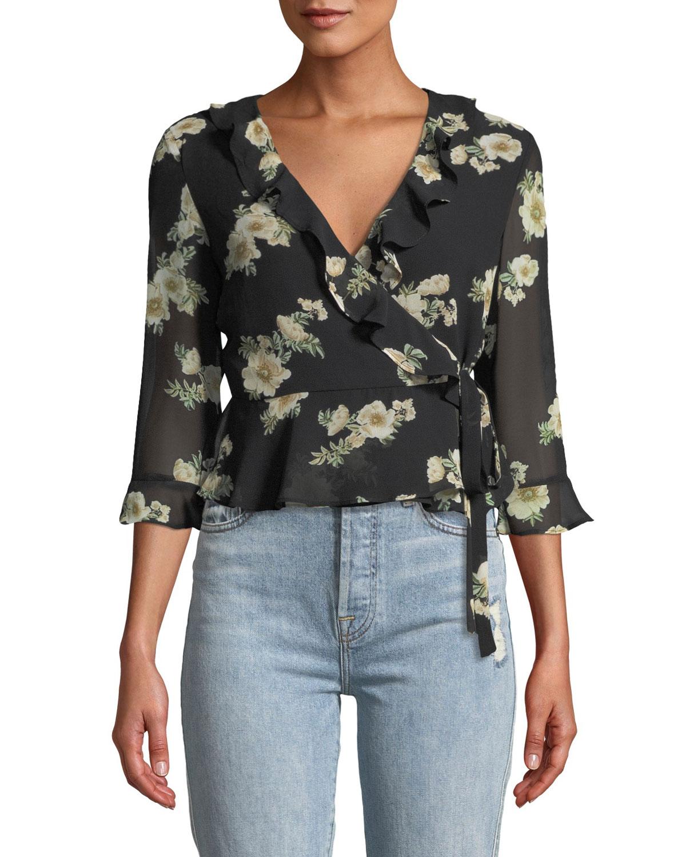 Catalina Floral-Print Ruffle Wrap Top