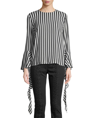 Queenie Striped Ruffle Bell-Sleeve Top