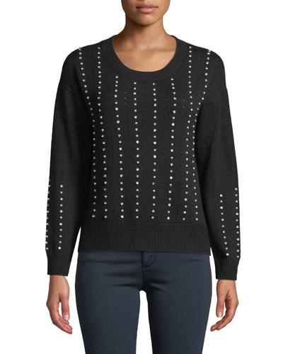 Raye Crewneck Beaded Pullover Sweater