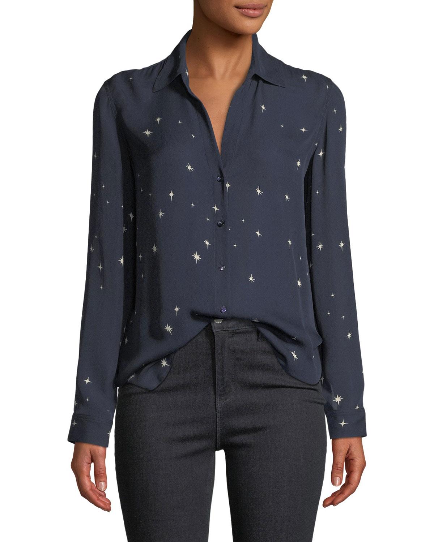 Nina Star-Print Button-Front Silk Top