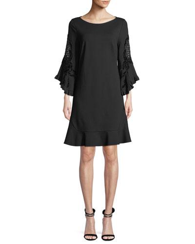 Klara Embroidered-Sleeve Shift Dress