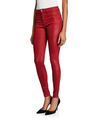 Marguerite Coated Cotton Denim High-Rise Skinny Jeans