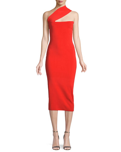 7b4909312020 Quick Look. Solace London · Vida One-Shoulder Bodycon Midi Dress. Available  in Red