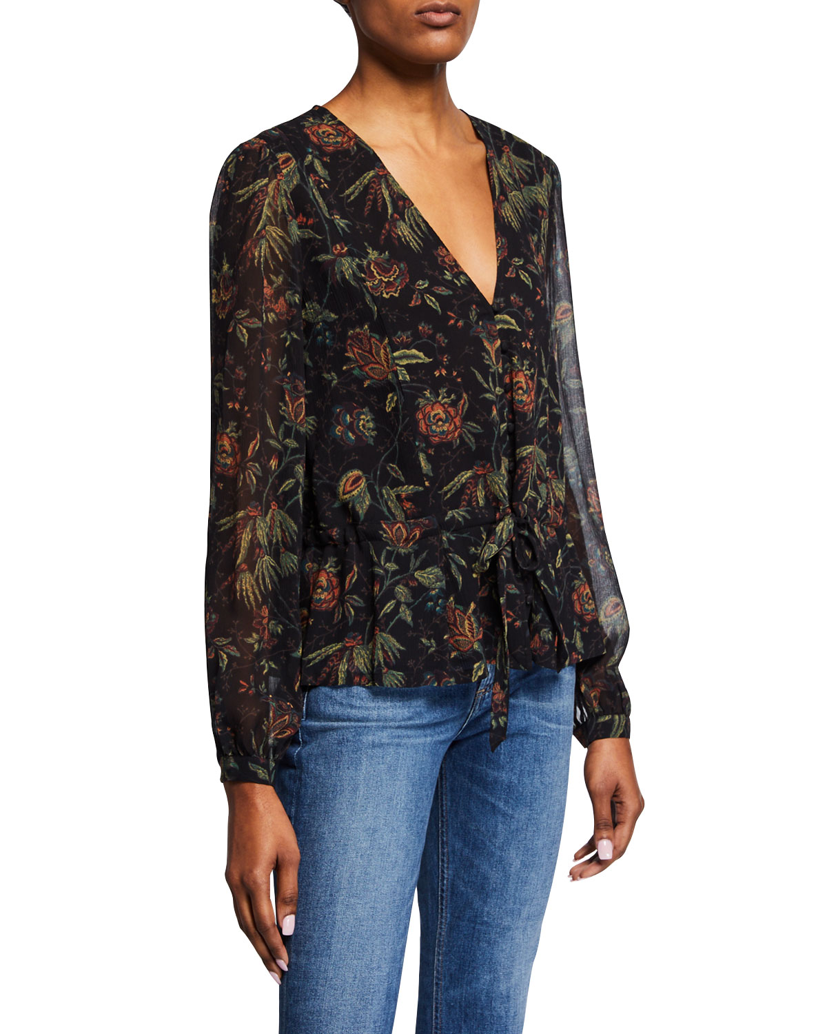 Carmona Printed Cold-Shoulder Blouse